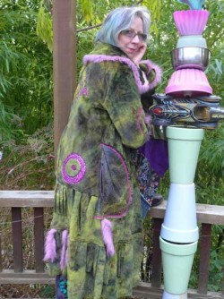 Green fake fur wearable art coat
