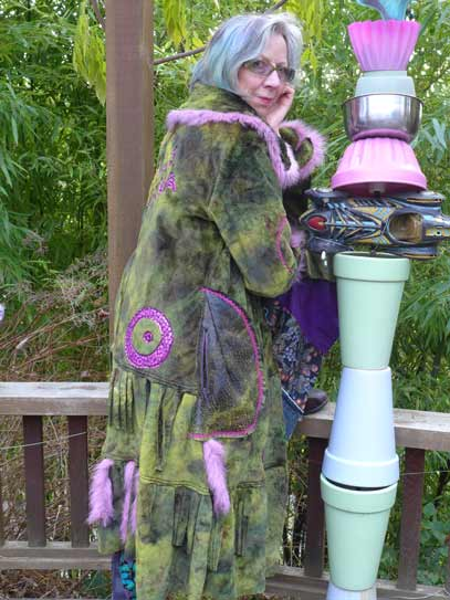 green faux fur wearable art coat, long shearling coat with pink fake fur tails