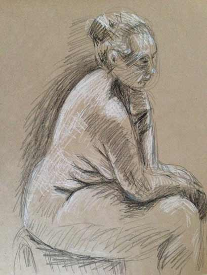 female nude life drawing, drawing with black and white on colored paper, curvy female nude