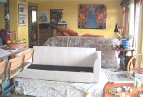 Decorate a plain white couch with dye and paint, Paula O'Brien, Pavelka Design, art textiles