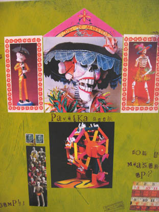 artist home, artsy house, colorful house, mexican day of the dead collage home