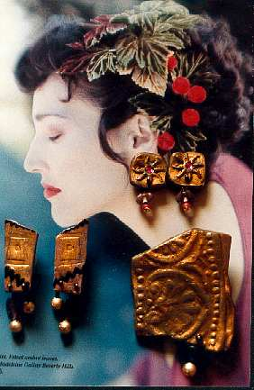 ployform clay gilded jewelry, embossed Fimo earrings, Pavelka Design