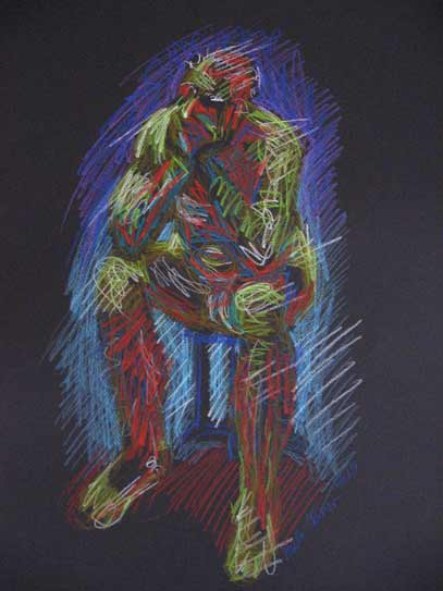 male nude life drawing, bold colorful life drawing with colored graphite on black paper