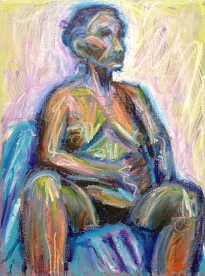 Seated female nude, lively colorful drawing from life, colourful oil sticks painting, fast life nude painting