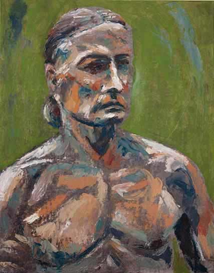 male nude life painting, alla prima oil painting, expressive palette knife painting