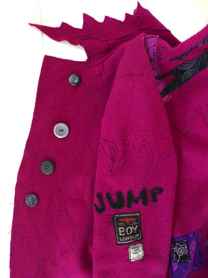 pink wool coat applique pocket, fuschia pink magenta boiled wool art coat, raw edges, wandering hemline, wearable art coat, Circus Pavelka
