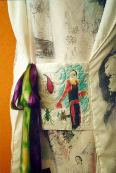 pocket detail, art dress, image transfer on silk