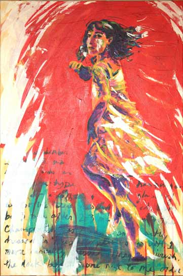 red vibrant dancing girl twirling, expressive dance painting in reds and purples, Paula O'Brien artist