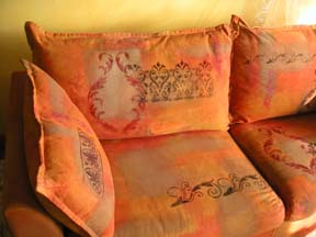 Stencils on fabric couch, decorated furniture, Paula O'Brien, Pavelka Design, art textiles