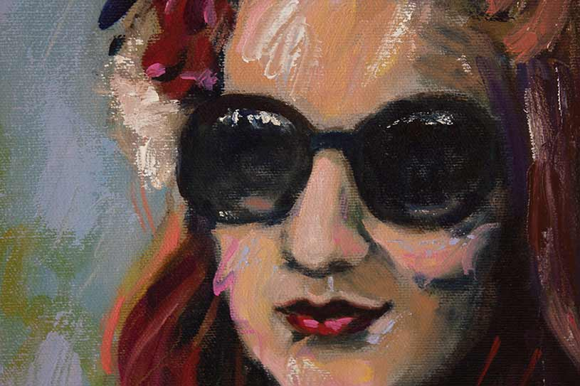 woman with sunglasses portrait, double portrait painting of young girl and young woman