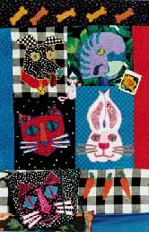 Cats, dogs, budgie, bunny, pets, Pavelka Design Independent sewing patterns, interesting sewing patterns, decorated applique quilt pattern