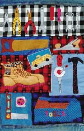 18_tools, toolman, men, trucks, hammer, Pavelka Design Independent sewing patterns, interesting sewing patterns, decorated applique quilt pattern