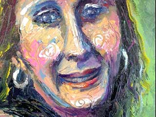 colorful expressive portrait painting young woman
