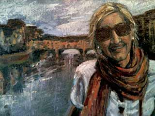 oil painting portrait youtube video, woman in Italy travel portrait