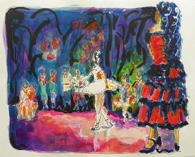 Nutcracker Ballet, watercolors, watercolor paintings Nutcracker, Spanish ballet painting