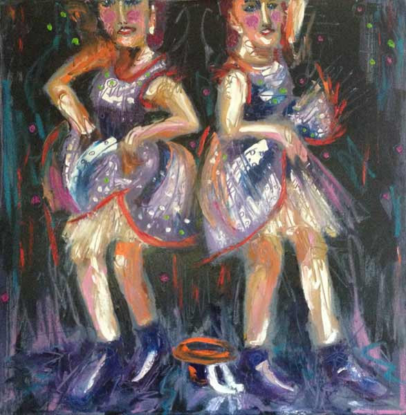 Paula O'Brien, Stellerama, colorful tap dancing painting, contemporary tap dancer painting
