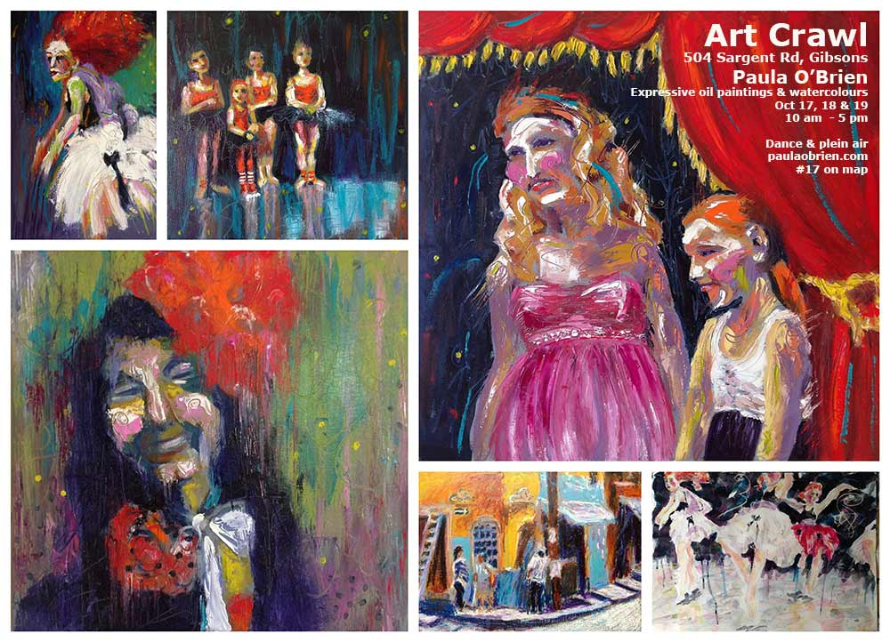 Paula O'Brien, exciting colourful paintings, colorful figurative painting Gibsons, Vancouver, BC, Seattle
