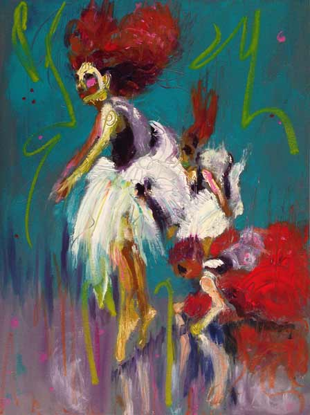 colorful dance painting, exciting dance painting, dramatic dance painting, paintings of dancers