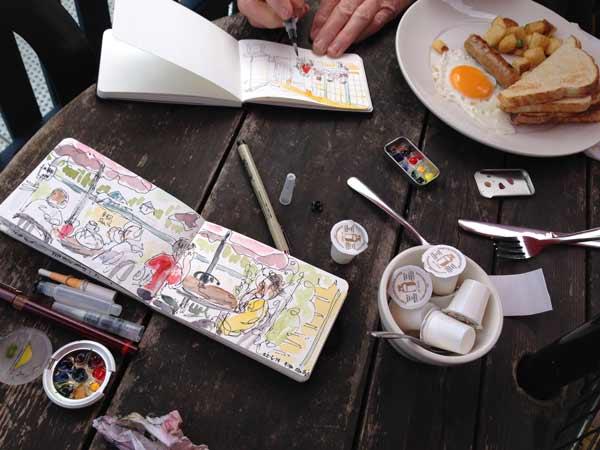 plein air painting, urban sketching, Gibsons, BC