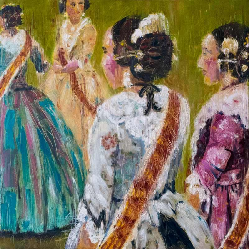 Las Fallas, Spain, costume oil painting, paintings of girls, colorful contemporary art Valencia