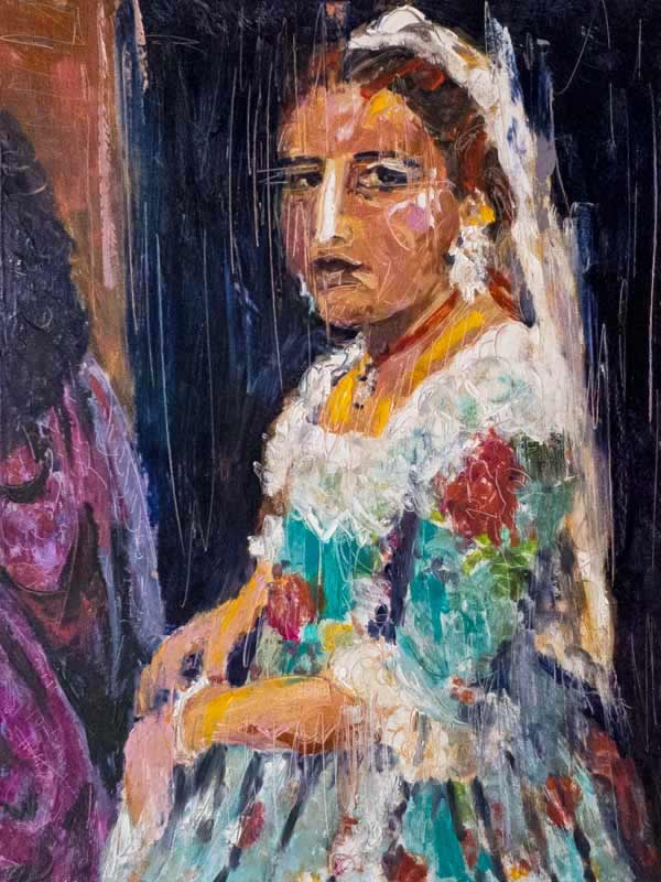 las Fallas, girl in costume, colorful contemporary oil painting Spain, abstract figurative painting