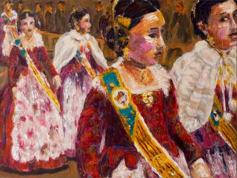 Las Fallas, Spain, costume oil painting, colorful contemporary art Valencia