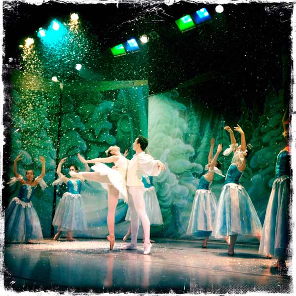 Nutcracker ballet, dramatic photography, Snow Queen and Cavalier, snowflakes
