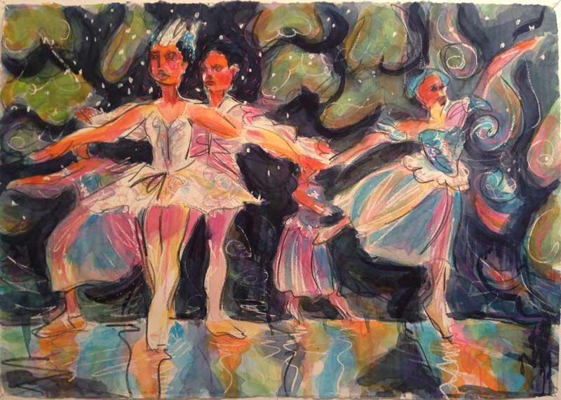 Dramatic colorful watercolor paintings of young dancers, Nutcracker Ballet, CoastingAlongTheatre.org, Gibsons, BC, 2015