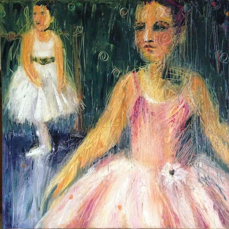 girl pink tutu painting, contemporary ballet painting, palette knife dance painting
