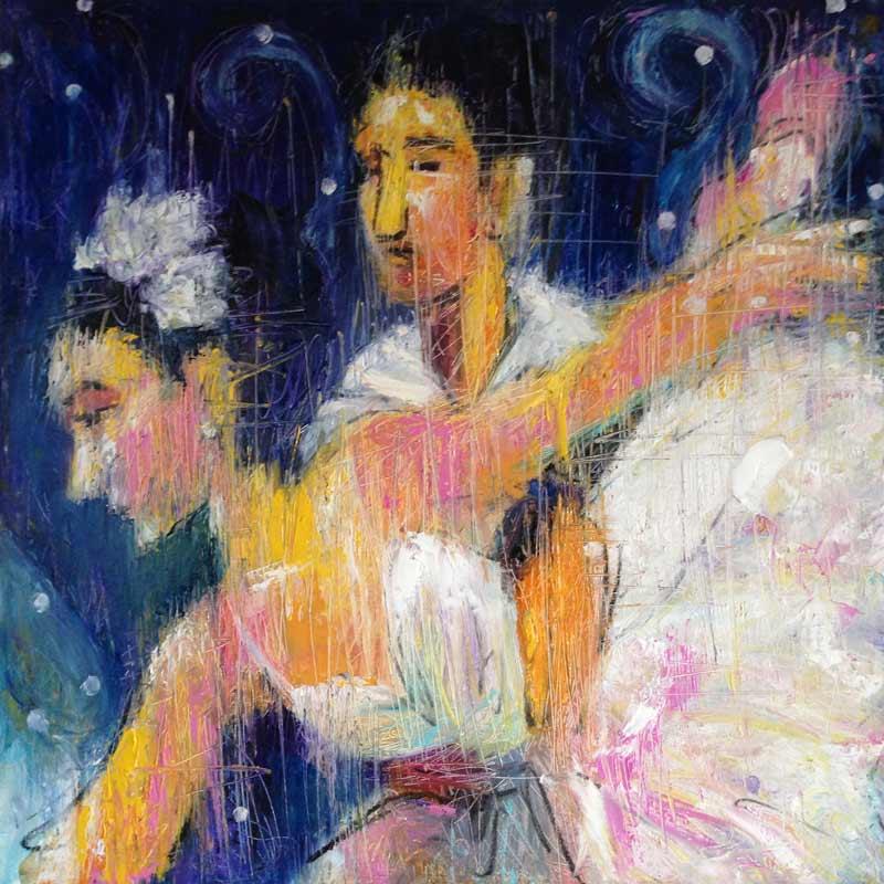 Nutcracker Snow Queen painting, contemporary ballet art, colorful dance painting, palette knife