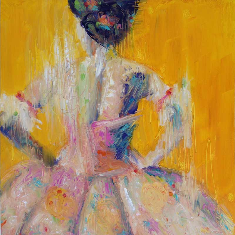yellow ballet painting, yellow pink ballet tutu, bold dance painting, dancers, woman dancer