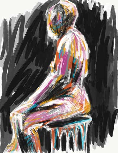 Digital life drawing, colorful iPad painting. Adobe Sketch drawing, colorful seated male nude