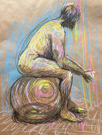 colorful life drawing, seated male nude, bold colored graphite life drawing