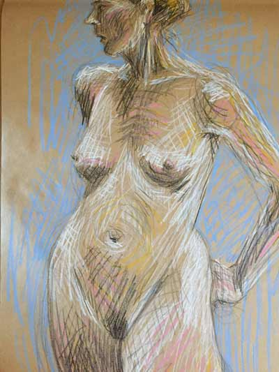 female nude life drawing, colored graphite, femme nu dessin