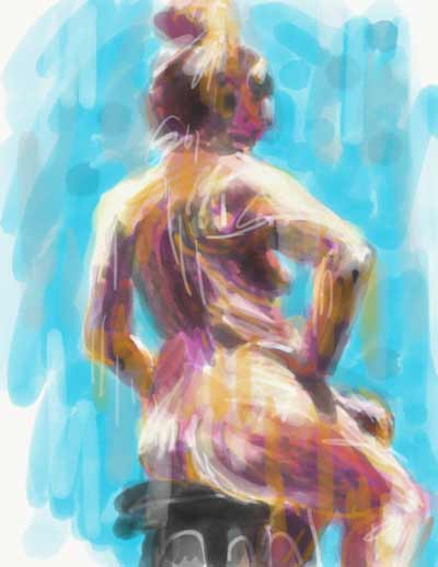 Digital life drawing, iPad painting. Adobe Sketch drawing, digital watercolor painting