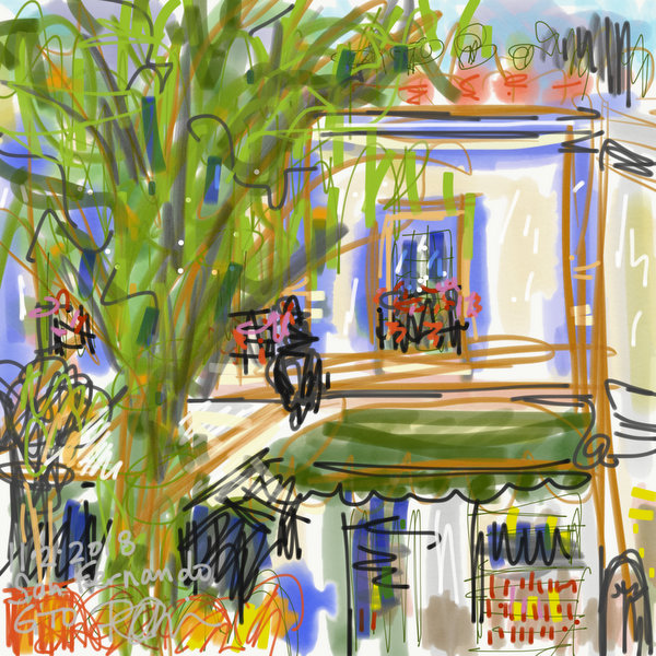 digital plein air painting Mexico, blue cafe house, Guanajuato