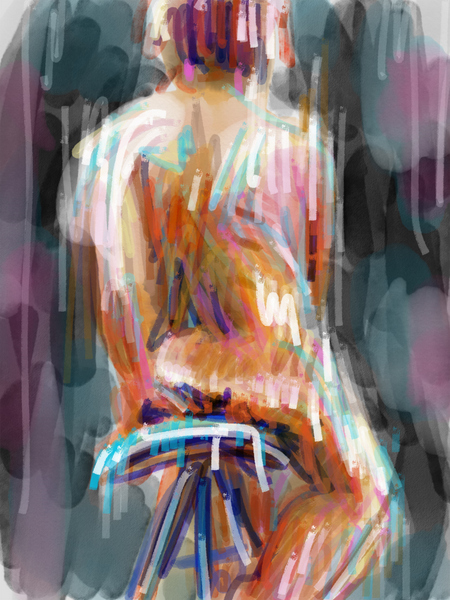 abstract digital life drawing, abstract ipad art, Adobe Sketch female nude painting