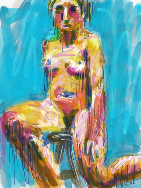 digital life drawing, colorful female nude digital painting