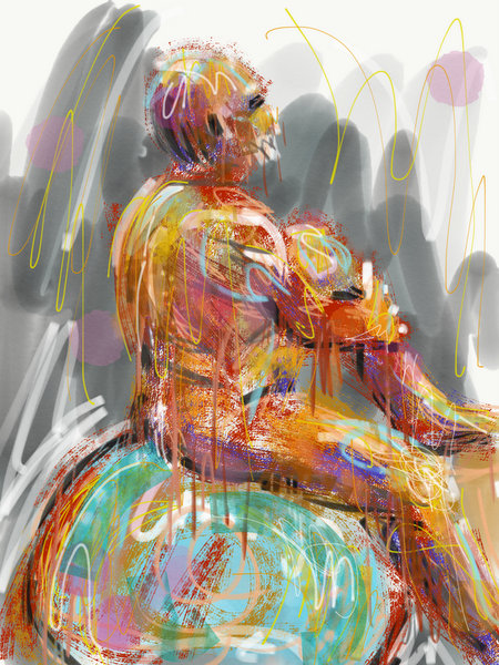 abstract male nude painting, digital life drawing, ipad art, ipad painting