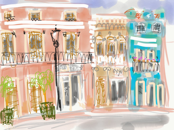 digital urban sketching on ipad, adobe sketch painting