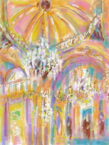 Basilica in pink and yellow, watercolor digital ipad plein air painting, Mexico