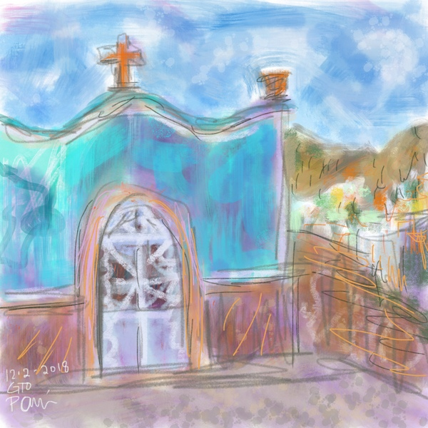 Little blue Mexican church shrine, digital painting, plein air painting
