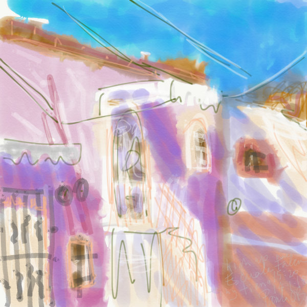 plein air painting ipad, Mexico, Guanajuato. loose abstract digital painting, pink Mexican home