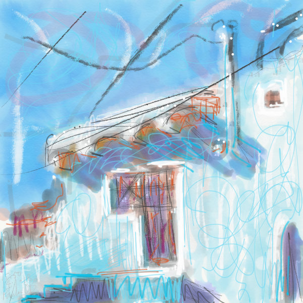 plein air painting ipad, Mexico, Guanajuato. loose abstract digital painting