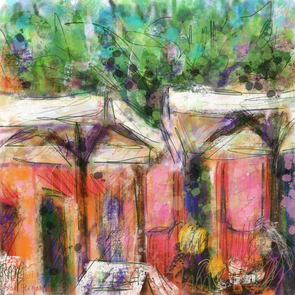 colorful plein air painting, digital plein air painting, Procreate