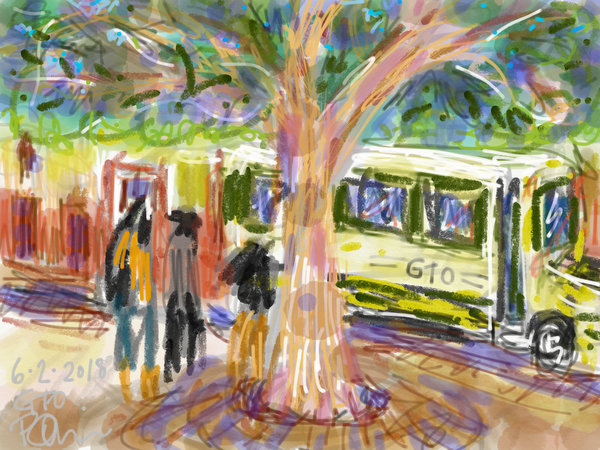 digital urban sketching, bus stop with big tree, digital painting