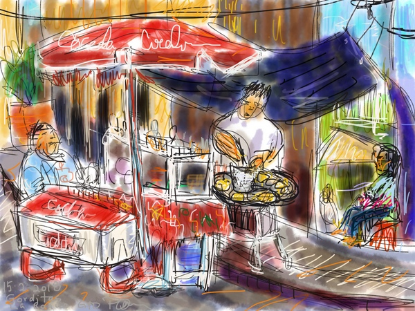 digital urban sketching on ipad procreate Mexico gorditas sellers