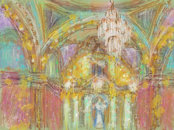 Procreate painting in churches in Mexico, plein air painting in churches, Mexico