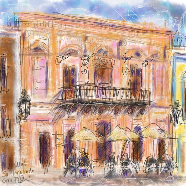 Procreate plein air ipad painting, loose urban painting Mexico