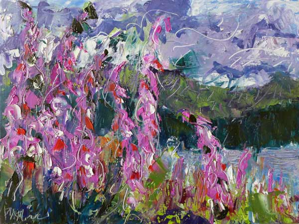 plein air painting, abstract landscape painting, foxgloves, flowers, stormy skies, skyscape, BC